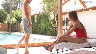 Audrey Hempburne adores sex by the pool with a handsome stranger