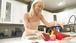 Beautiful blonde Chloe Temple enjoys sex on the kitchen's table