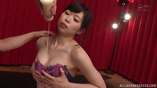 Oiled Miyamura Nanako spreads her legs for fingering and hard sex
