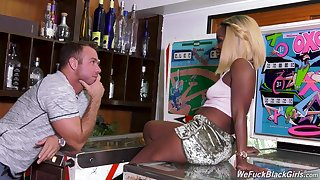 Ebony blonde slut Harmonie Marquise takes cum on face from a white guy
