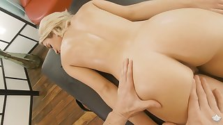 Intake blonde with yummy ass Khloe Kapri is fucked by horny massage dear boy