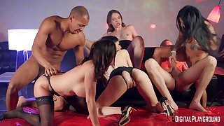 Naked gals share the dicks with insane group interracial orgy