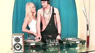 Cute Girl Sucking Brobdingnagian Cock DJ and Making out in the Party
