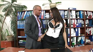 Librarian gets intimate with one be useful to the guys from the office