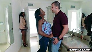 Characterless dude fucks ebony girlfriend and their way off colour stepmom Mya Mays and Yasmine De Leon