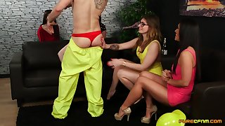 CFNM video of Ava Austen plus Gail Lyons pleasuring a casual guy