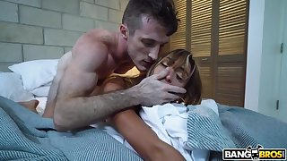 Bent over an obstacle messy bed charming slender nympho is fucked doggy hard